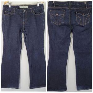 Ann Taylor Loft Flare Dark Wash Flap Pockets Jean